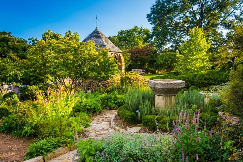 眺望台在华盛顿国民的Cathedr主教的Garden里 库存图片