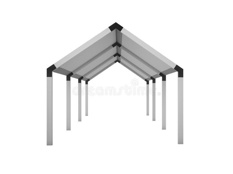 眺望台,在白色隔绝的机盖房子, 3d翻译illustratio 库存例证