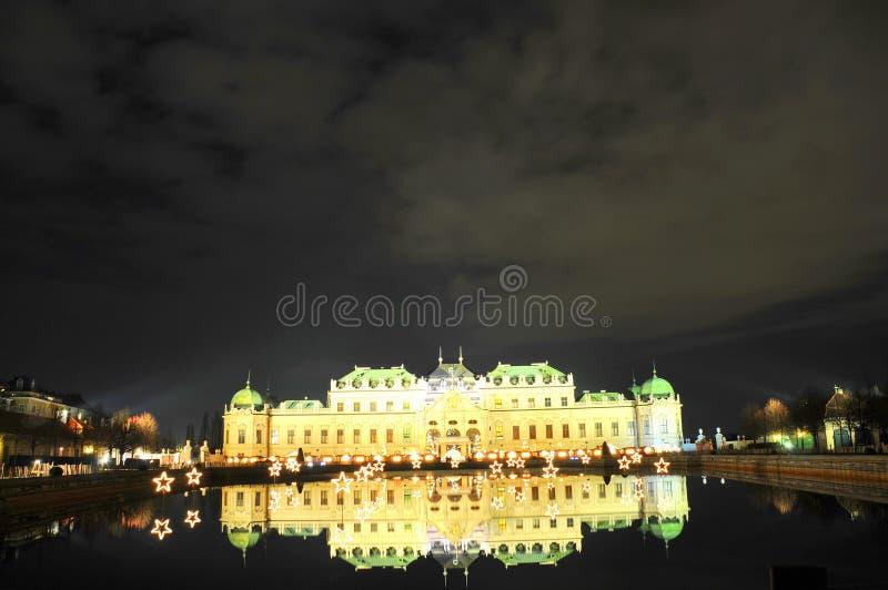 眺望楼晚上宫殿维也纳 库存照片