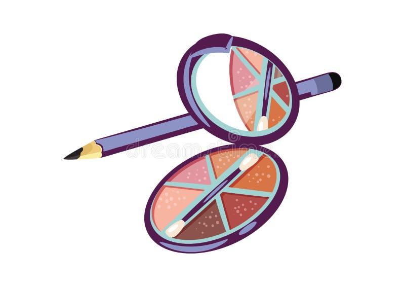 眼影膏和铅笔商标 库存照片