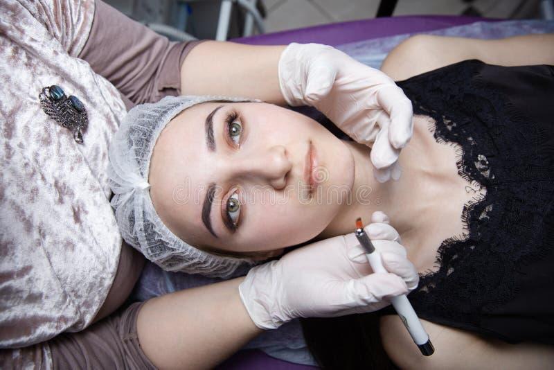 眼眉的永久构成 Microblading眉头 做眼眉的美容师刺字为女性面孔 美丽的年轻人 库存照片