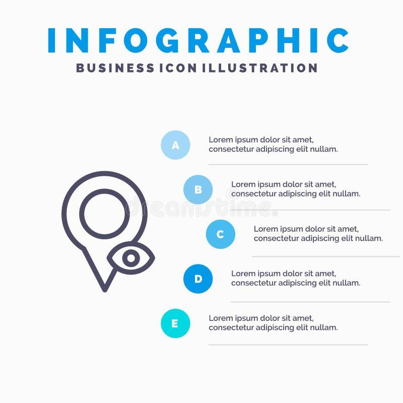 眼睛、位置、地图、指针行图标,带5步演示信息图形背景 库存例证