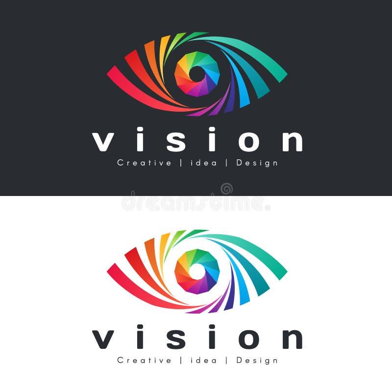 眼睛与抽象五颜六色的彩虹眼睛的视觉商标在黑暗和白色背景传染媒介设计 库存例证