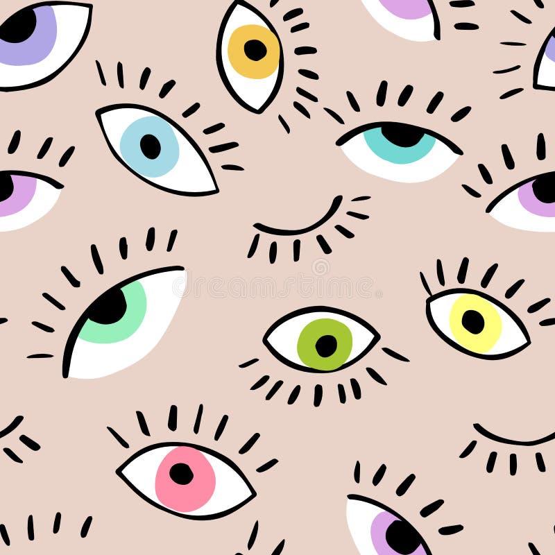 眼睛乱画传染媒介手拉的无缝的样式 闭合和睁开眼睛 织品的,盖子样式 皇族释放例证
