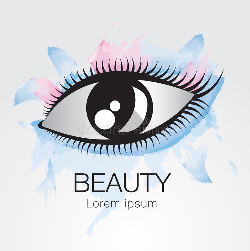 眼睛传染媒介象,时尚的,秀丽,化妆用品,温泉,网象商标设计,手拉 向量例证