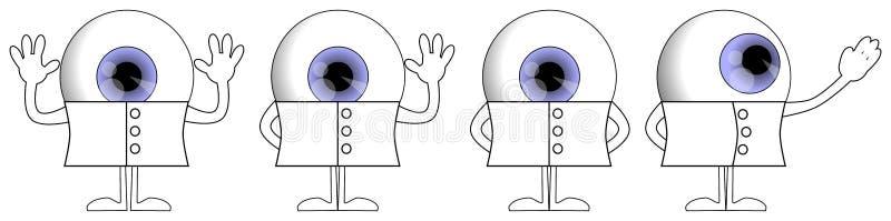 眼睛动画片用不同的姿势,字符,滑稽的彩色插图,被隔绝 库存例证