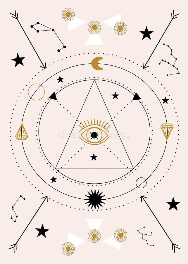 眼睛和圈子,在几何构成 库存例证