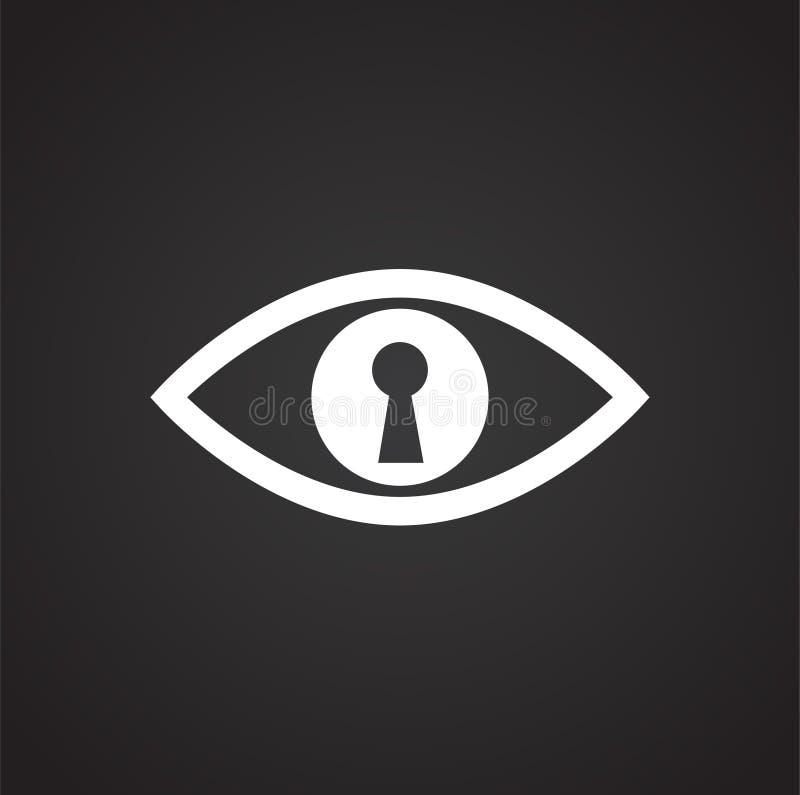 眼睛在黑背景的公认安全图表和网络设计的,现代简单的传染媒介标志 背景蓝色颜色概念互联网 时髦 库存例证