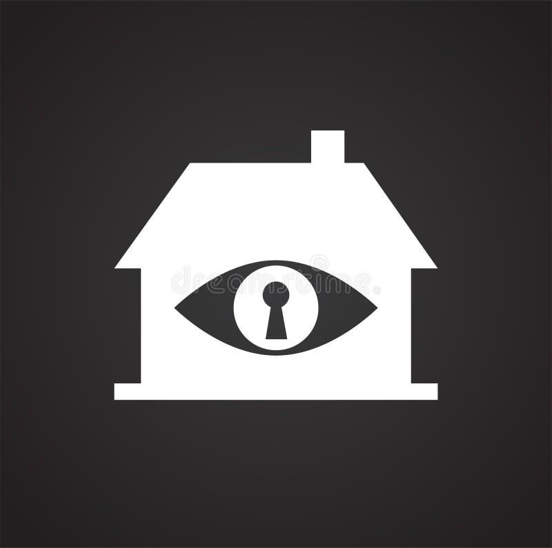 眼睛在黑背景的公认安全图表和网络设计的,现代简单的传染媒介标志 背景蓝色颜色概念互联网 时髦 向量例证