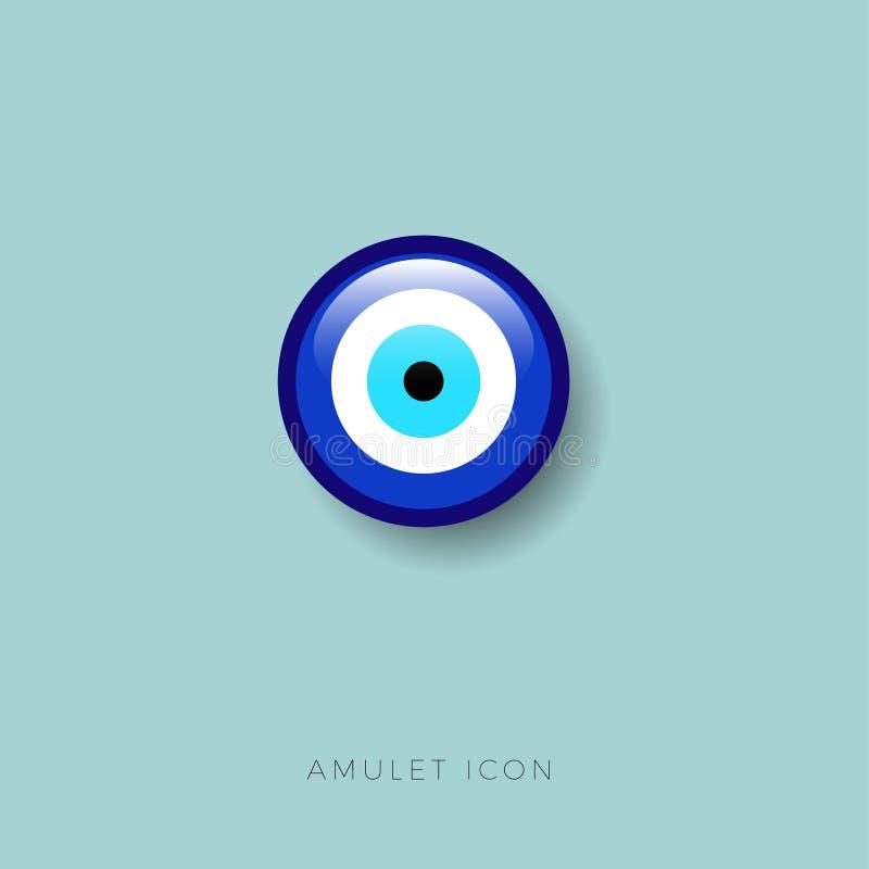 眼睛小珠象 护身符防止受到凶眼光滑的按钮 幸运的护符 库存例证