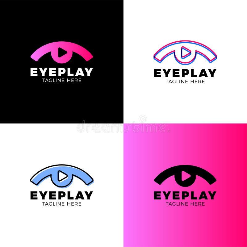 眼睛录影、媒介、音乐合理的按钮和戏剧象传染媒介商标 影片剥离平的商标象传染媒介模板 标志和 向量例证