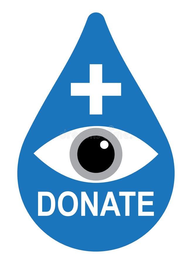 眼睛捐赠与在白色的十字架 向量例证