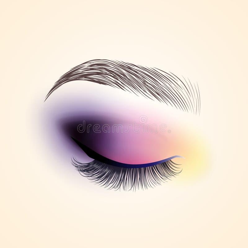 眼睛构成 与长的睫毛的闭合的眼睛 向量例证