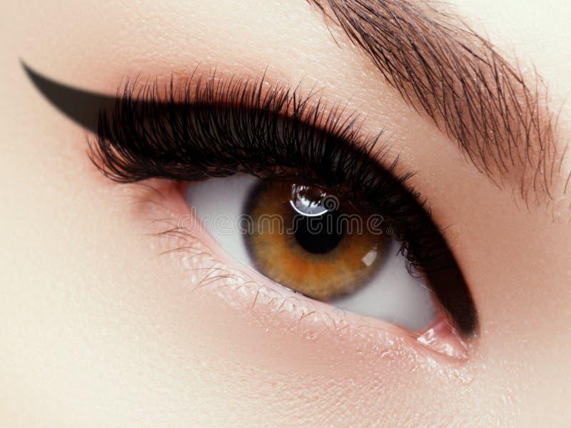 眼睛构成 时尚眼睛脸特写镜头宏观射击  关闭与美好的褐色的妇女眼睛与黑树荫 免版税图库摄影