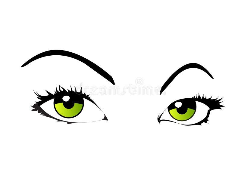 眼睛查出的向量妇女 库存例证