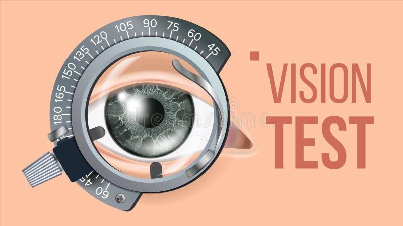 眼睛测试横幅传染媒介 视觉更正 验光师检查 足迹框架 检查例证 皇族释放例证