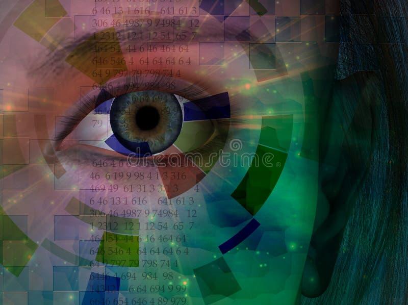 眼睛特写镜头与二进制编码的 库存例证