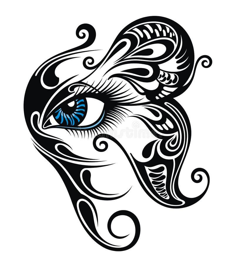 眼睛用蝴蝶组成 纹身花刺眼睛 向量例证