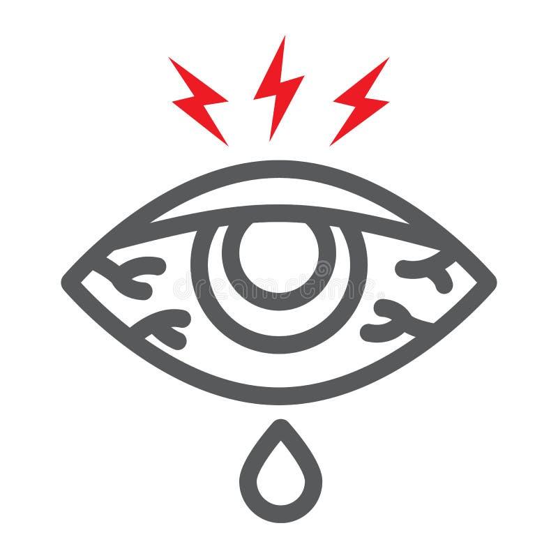 眼睛疼痛线象,身体和伤害,注视赤红标志,向量图形,在白色背景的一个线性样式 皇族释放例证
