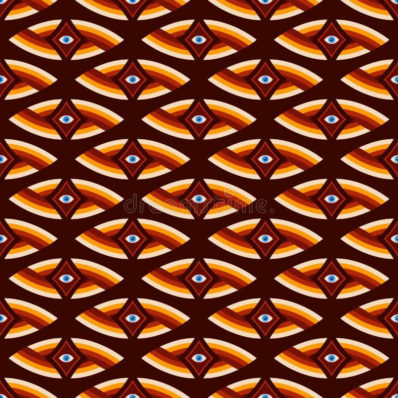 眼睛的抽象无缝的样式在菱形里面的 超现实主义艺术 导航颜色荧光的例证 皇族释放例证