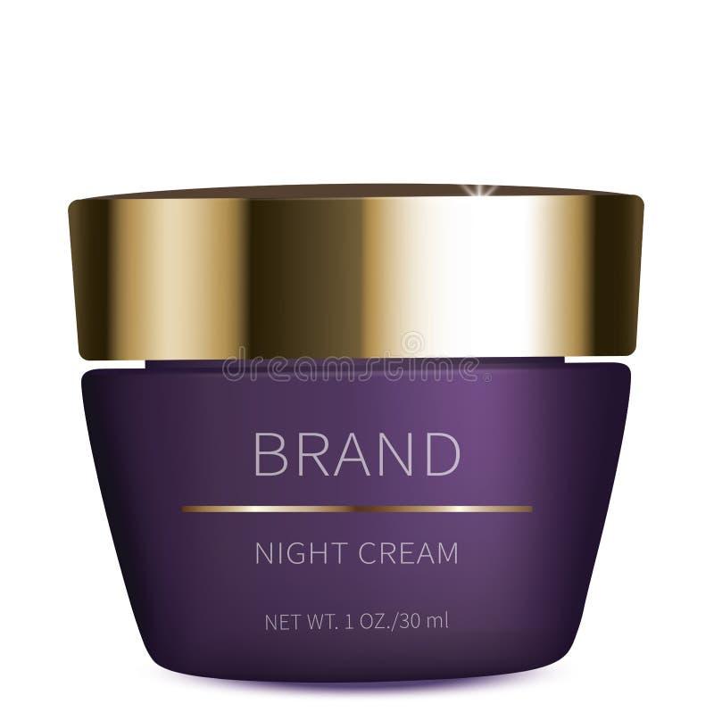 眼睛皮肤护理的夜化妆胶凝体 向量例证