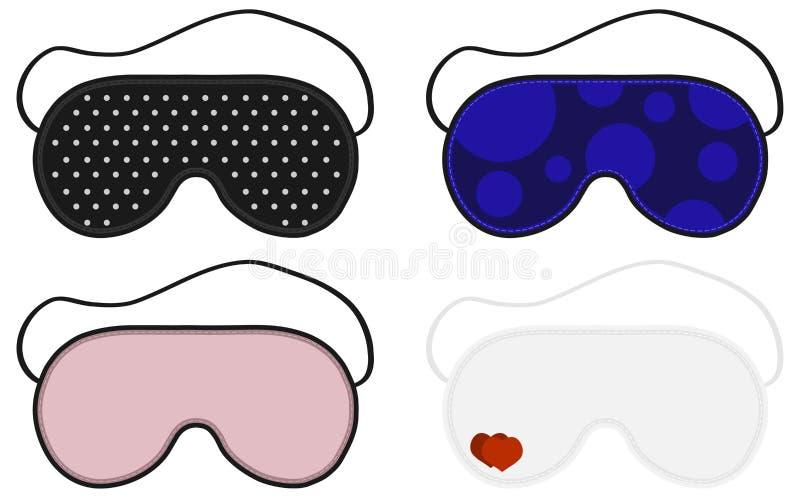 眼睛睡眠面具传染媒介例证 睡眠辅助部件对象 设置睡眠面具 睡觉面具的被隔绝的例证 向量例证
