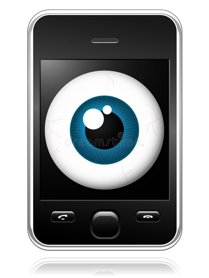 眼睛移动现代观察的电话 向量例证