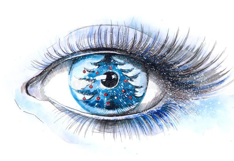 眼睛结构树xmas 向量例证