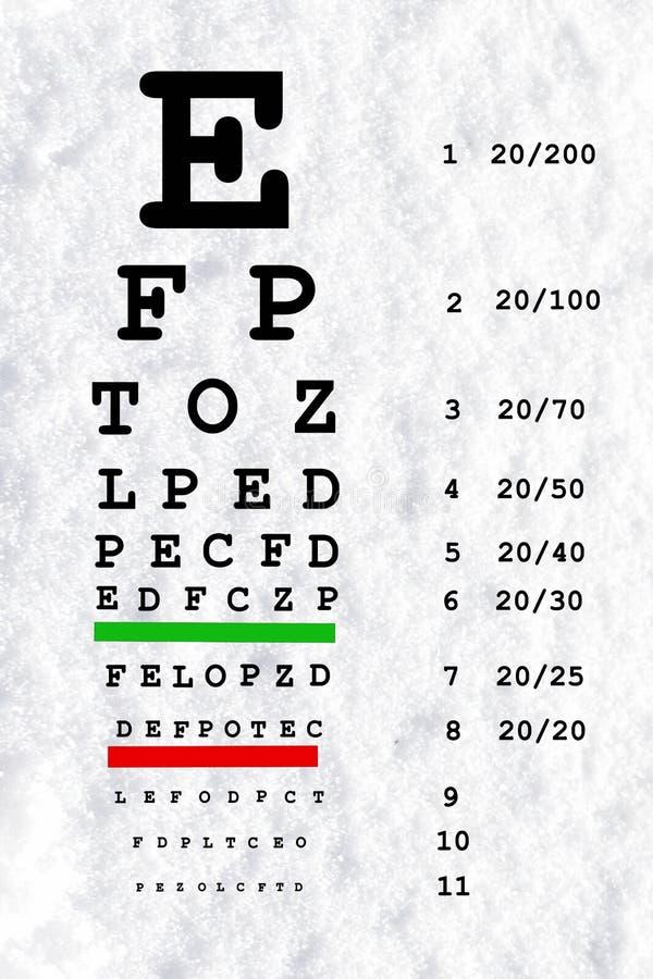眼睛视域测试图在雪白背景中 库存例证