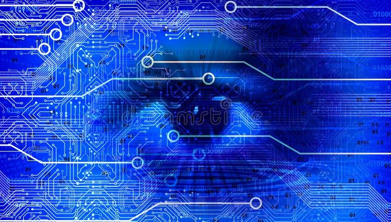 眼睛视觉创业贷款及科技横幅蓝色背景 被连接的技术世界地球谷歌 r 向量例证