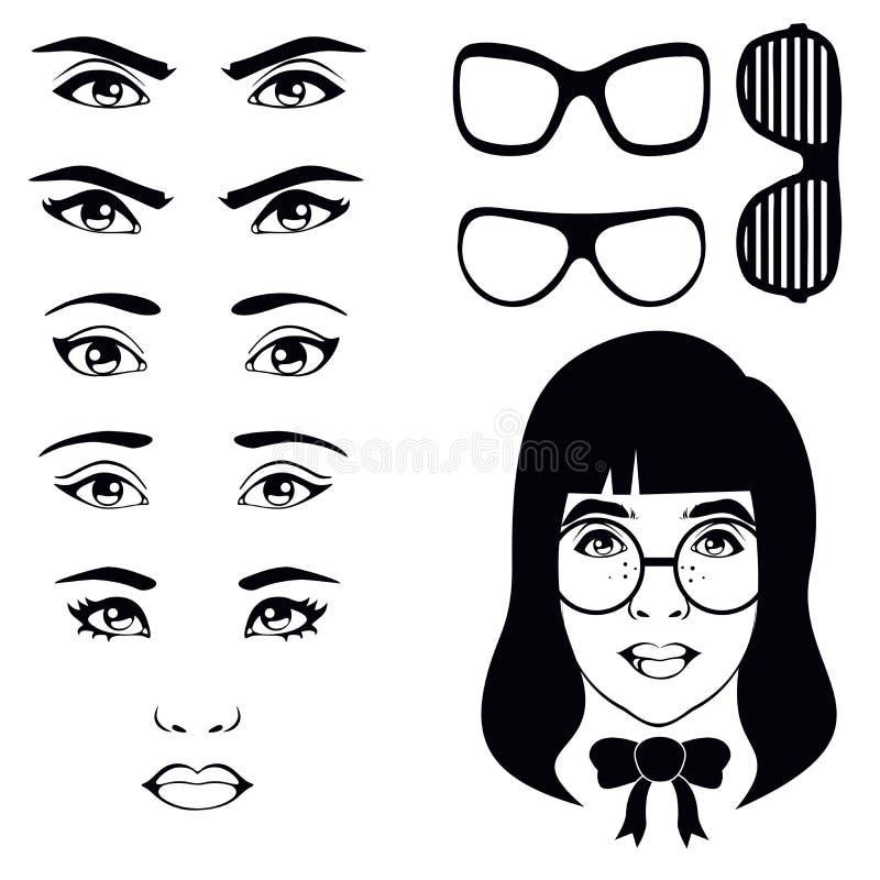 眼睛集合,女孩字符 向量例证
