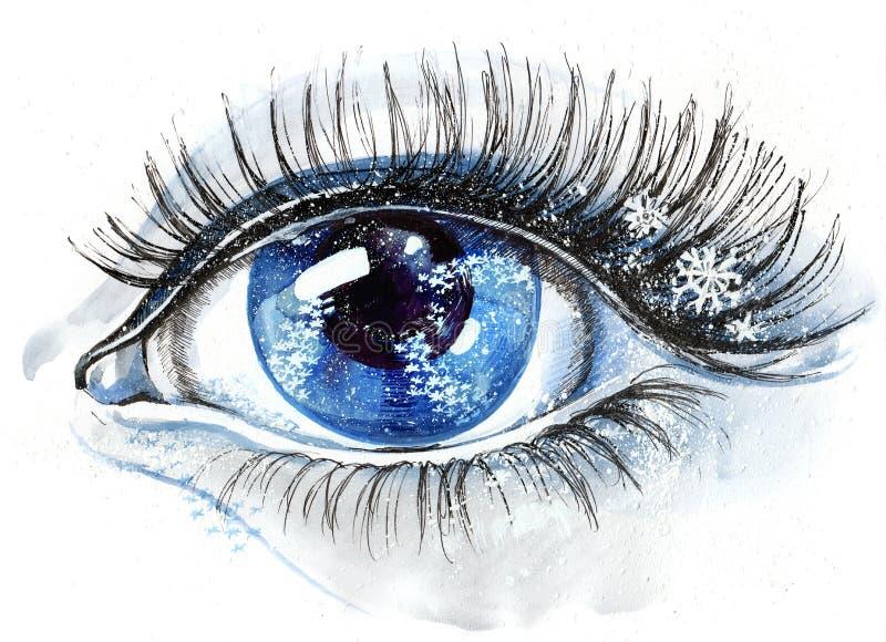 眼睛雪花 向量例证
