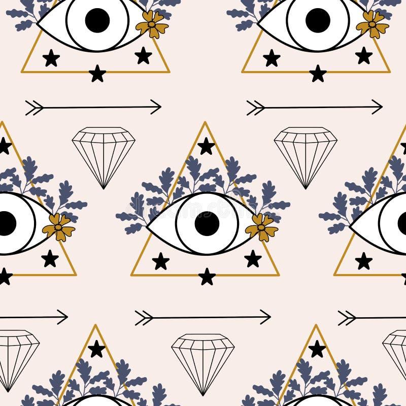 眼睛,三角和紫色叶子,在一个无缝的样式设计 库存例证