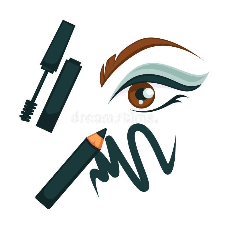 眼睛组成与所有化妆工具的海报 库存例证