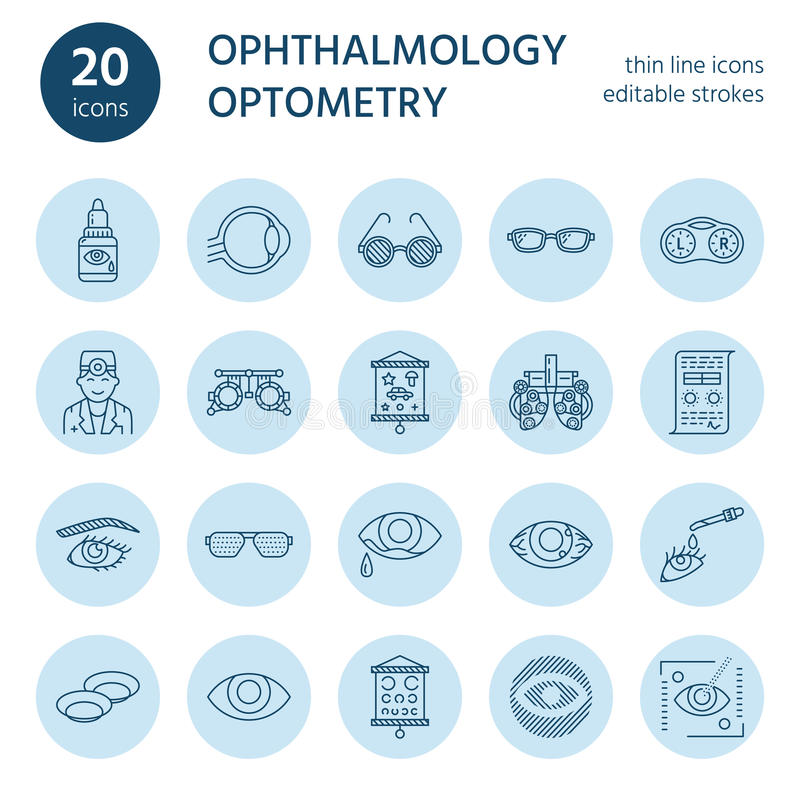 眼科学,眼睛医疗保健线象 视力测定设备,隐形眼镜,玻璃,盲目性 视觉更正 向量例证
