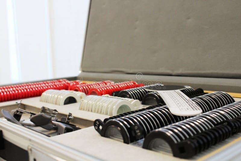 眼科设备 设置诊断的透镜 免版税库存照片