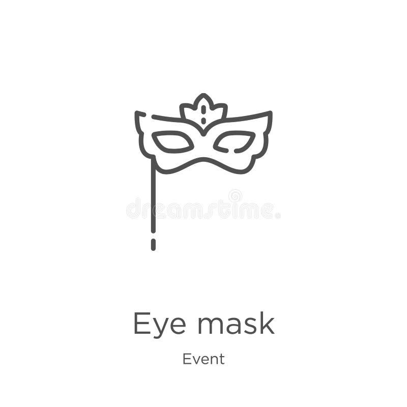 眼罩从事件汇集的象传染媒介 稀薄的线眼罩概述象传染媒介例证 概述,稀薄的线眼罩象 库存例证