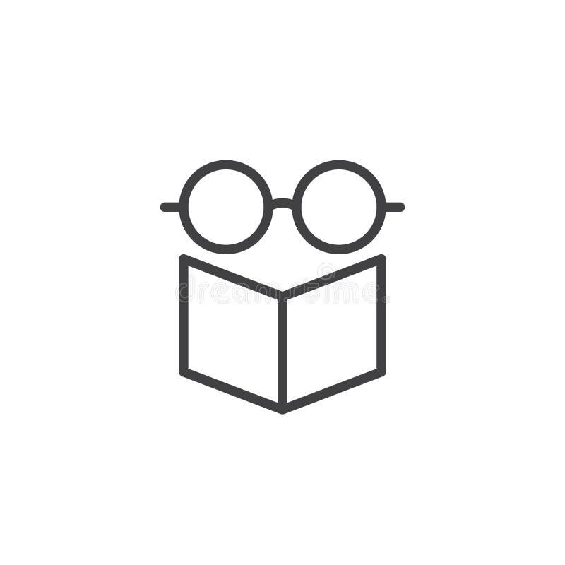 眼镜和书概述象 向量例证
