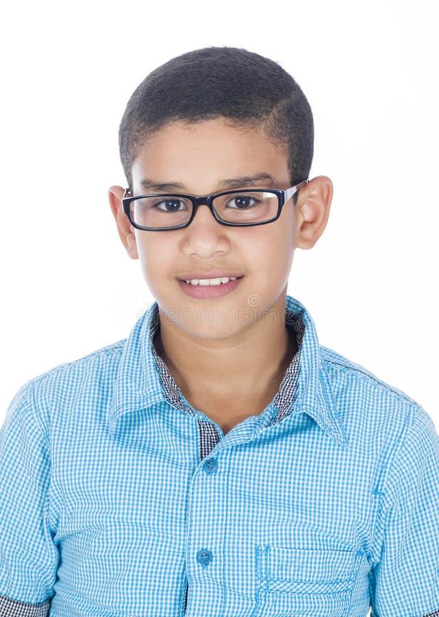 戴眼镜的一个男孩 免版税库存图片