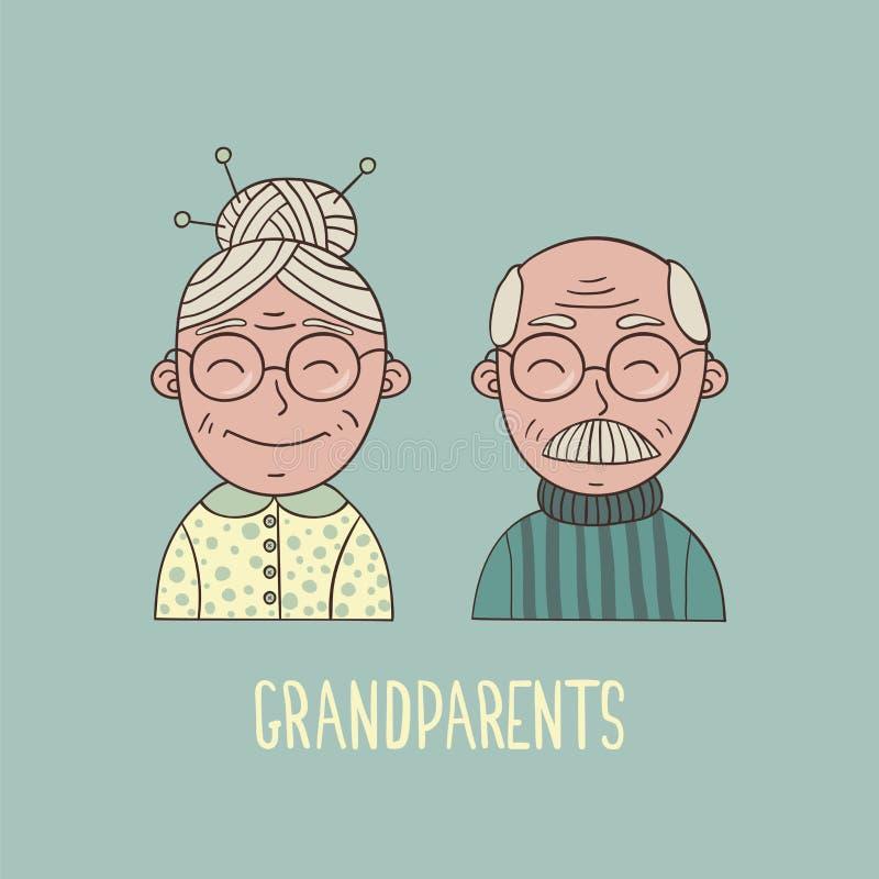 戴眼镜的动画片祖父母 向量例证