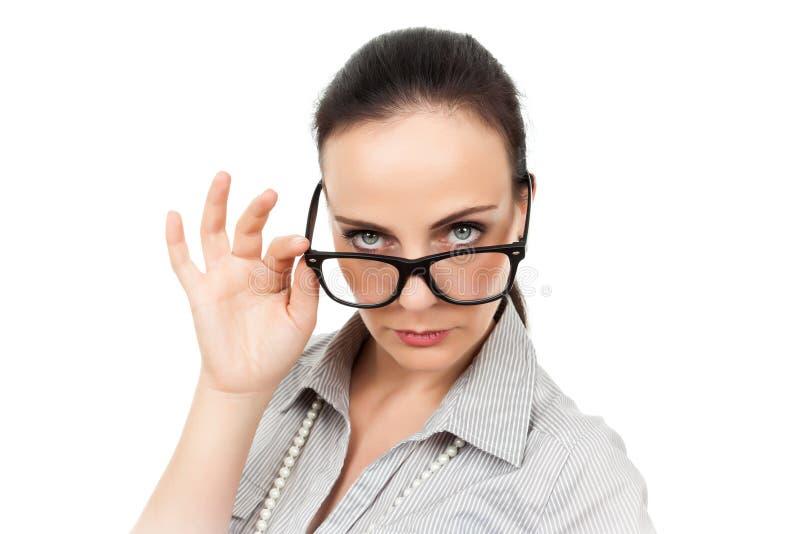 戴眼镜的女商人 免版税库存图片