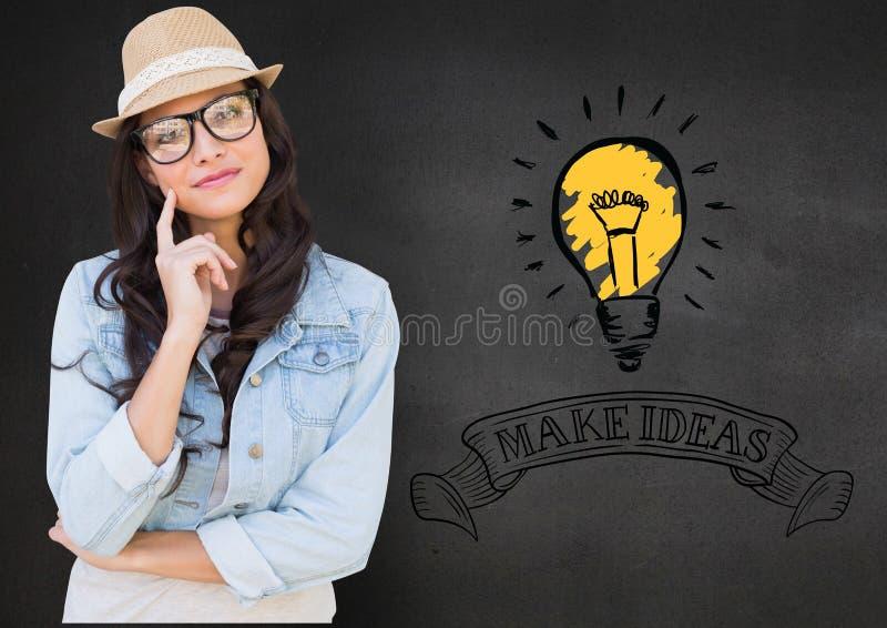 眼镜的女孩与在下巴的手指反对与电灯泡的背景和做在文本的想法 库存例证