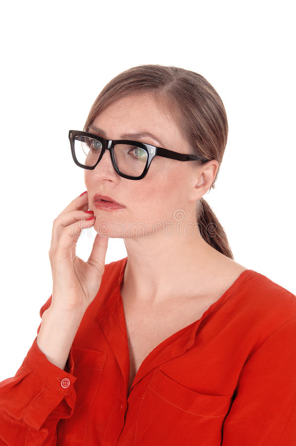 戴眼镜的混乱的少妇在画象 免版税库存图片