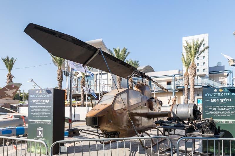 眼镜蛇在军队陈列`的战斗直升机我们的IDF ` 免版税库存图片