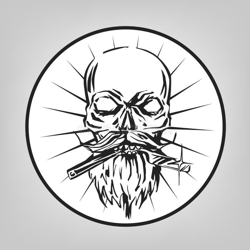 着墨一位理发师的拉长的头骨有胡子和普通刀片的在嘴传染媒介象征,徽章,标志,贴纸布局 皇族释放例证