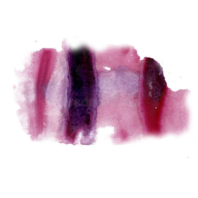 着墨在白色背景隔绝的泼溅物水彩红色染料液体水彩宏观斑点污点纹理 免版税图库摄影