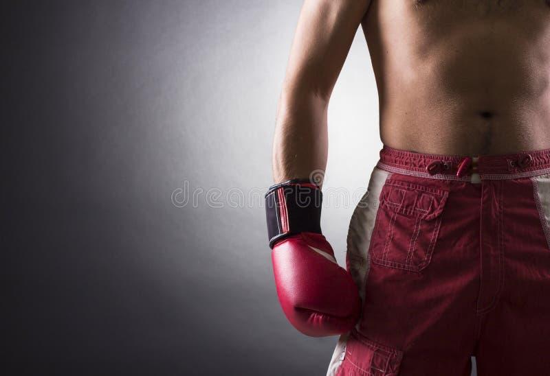 戴着手套的拳击手 免版税库存图片