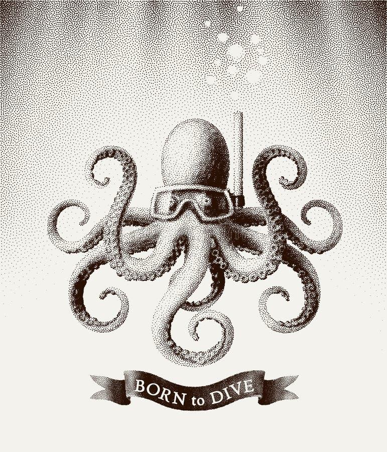 戴着潜水的章鱼一个面具在水下 在葡萄酒蚀刻样式的传染媒介例证  库存例证