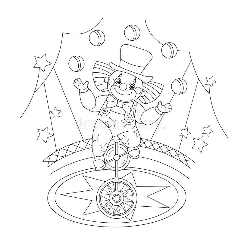着色一个滑稽的小丑玩杂耍的球的页概述 向量例证