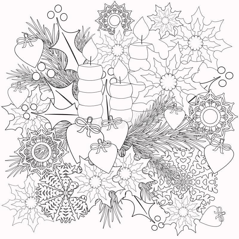 着色与装饰花卉装饰元素例证的儿童图书 库存照片